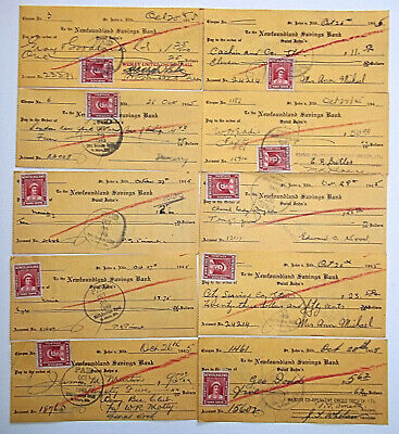 Newfoundland Savings Bank Cheques with stamps  Lot#3