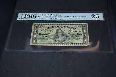 PMG Graded Dominion of Canada 25 Cents Banknote 1870 DC-1c VF25