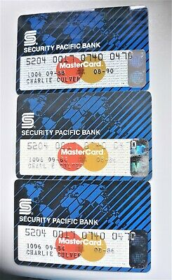 3 Vintage Security Pacific Credit Cards 2 1986 Used 1 1990 Signed Master Charge