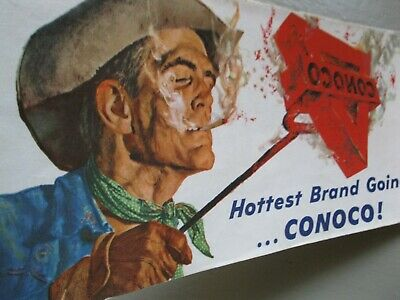 Vintage 1959 CONOCO United States Road Map Gas Station Advertising Oil Cowboy