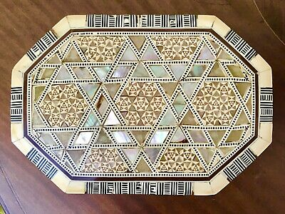 Lovely Vintage Handmade Octagonal Mosaic Box Inlaid Mother of Pearl Marquetry.