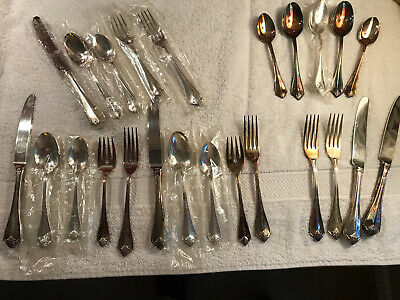 3 Vintage Settings Oneida King James 1881 Silver Plate Flatware + Extras Pcs.