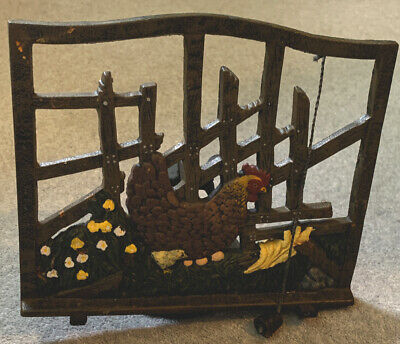 Rooster Vintage Rustic Cast Iron Country Kitchen Cookery Book Stand