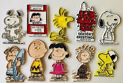 10 Vintage Rubber Peanuts Magnet Lot - Snoopy Charlie Brown Woodstock Pig Pen