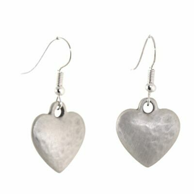 SALE: Pewter Danon Jewellery: Hook Earrings with Chubby Dimpled Silver Heart ...