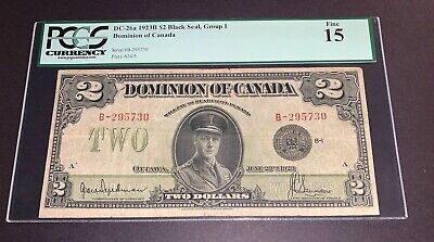 PCGS Currency DC-26a 1923B $2 Black Seal, Group1 Dominion Of Canada Fine15