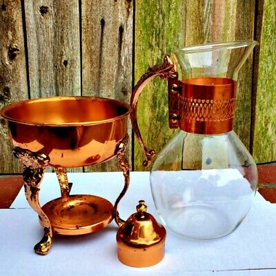 Vintage Corning Ware Copper & Glass Coffee Carafe Warmer