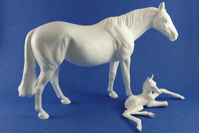 Traditional Unpainted Artist Resin Stock Horse Mare & Foal, SWEETIE & SKIPPY set