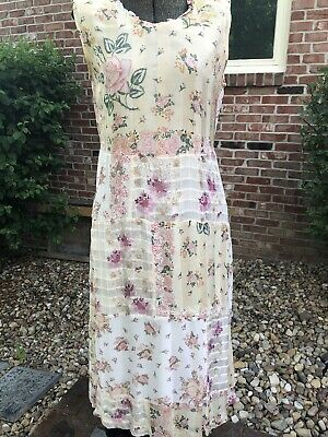 April Cornell Pink Flowers Dress Summer Small Lace Wedding Rose Pink Victorian