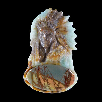 Carved Native American & A GEM Pendant Bead GC600136
