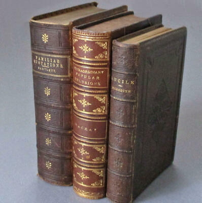 3 Antique 19thC LEATHER Bound Books FAMILIAR Quotations LUCILE POPULAR Delusions