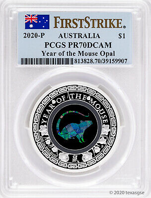 2020-P $1 Australia Year of the Mouse Opal 1oz .9999 Silver Proof PCGS PR70 FS