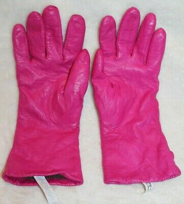 VTG 90s WOMENS LORD & TAYLOR HOT PINK LEATHER CASHMERE LINED HAND GLOVES SZ 7.5