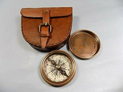 Authentic Vintage Style Brass Pocket Compass With Leather Case Note