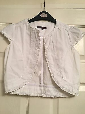 Girls White Cropped Jacket 100% Cotton Fantastic Used Condition Age 12 Years