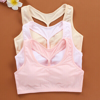 Girls Students Sports Vest Cropped Sleeveless Stretchy Tank Breathable Brassiere
