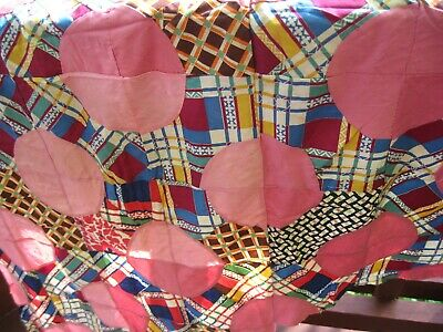 "Vintage Hand Sewn Incomplete Quarter Circle Patchwork Quilt Top 90"" x 32"""