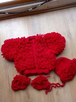 Brand New Hand Knitted Red Sparkly 3 Pce Loopy Jacket, Bonnet And Boottees