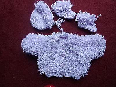 Brand New Hand Knitted Lilac 3 Pce Loopy Jacket, Bonnet And Boottees