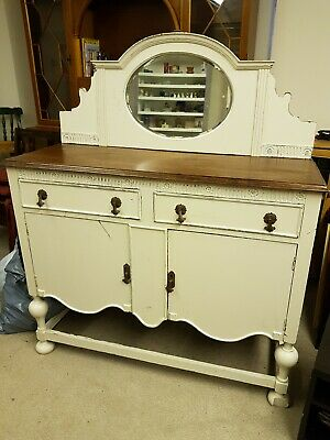 A Painted Edwardian Mirror Backed Sideboard with Two Drawers & Key 120cms Wide