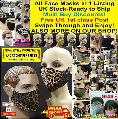 Breathable Cotton Face Mask Unisex Reusable Cycling Washable LOT Protection