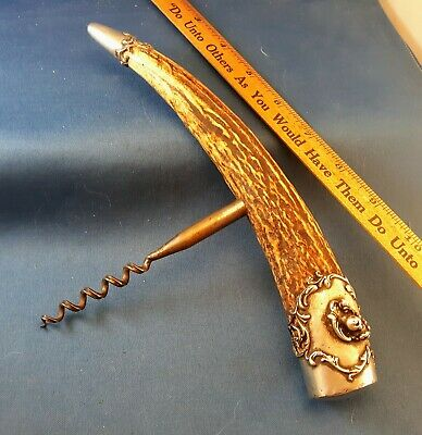 Massive Nine Inch Stag Handle Corkscrew Beautiful Sterling Silver End Caps Nr!