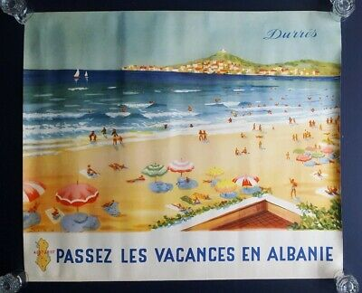 Orig. French travel poster, Albania, Albanie, Durrës, S. Lito for Albturist, '56
