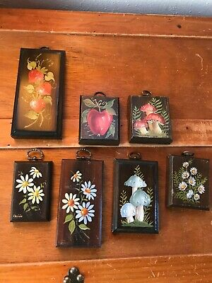 Vintage Lot of 7 Artist Signed Hand Painted Mushroom Daisy Flowers Strawberries