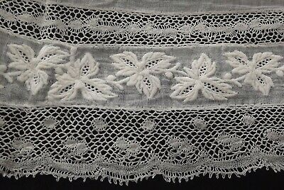 Antique Whitework Embroidery Fine White Lawn Cotton  Lace Edged Handkerchief