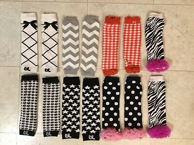 Lot 7 pairs Leg Warmers BL Baby Leggings Girls Kids Black White Pink Red 10.5""