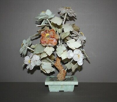 Vintage Asian Jade Glass Agate Stone Flower Leaf Bonsai Flower & Leaf Tree