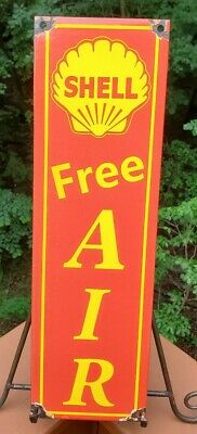 Vintage Shell Free Air Porcelain  Gas Pump Fuel Station Advertising Sign