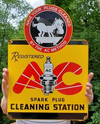 Large Ac Spark Plug Advertising Porcelain Gas Pump Sign Donkey Dated 4/62