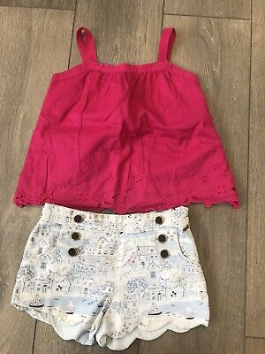Girls Ted Baker Top And M&S Shorts Outfit Age 6-7 Years