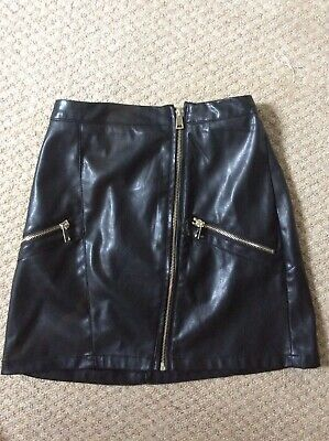 Girls River Island Leather Look Skirt Age 12 Black