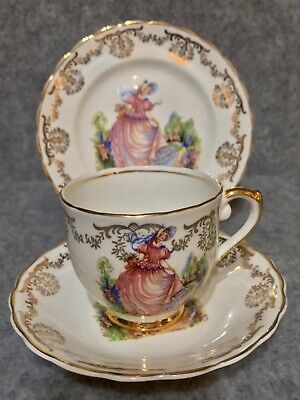 "Vintage Lubern Bone China ""Pinkie"" Tea Set Trio 22 kt Teacup, Saucer & Tea Plate"