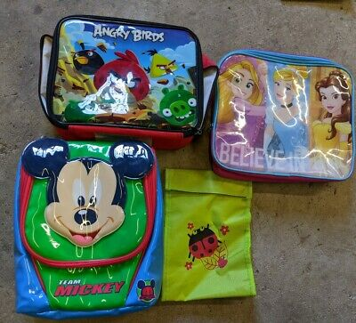 Children's Insulated Lunch Bags X4. Mickey, Disney Princess, Angry Birds
