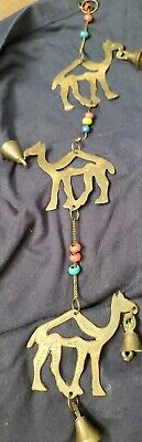 Vintage Brass Camel And Bell Wind Chime