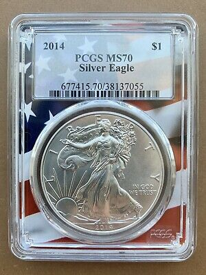 2014 $1 American Silver Eagle PCGS MS70 Flag Frame Label USA COIN NO RESERVE