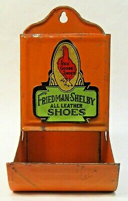 vintage FRIEDMAN SHELBY RED GOOSE SHOES tin wall mount MATCH holder *