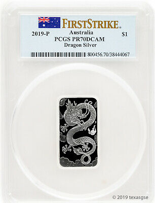 2019-P $1 Australia Rectangular Dragon 1oz Silver Coin PCGS PR70 First Strike
