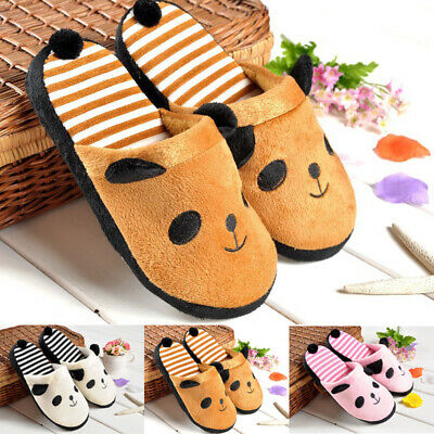 Womens Girls Panda Tail Warm Winter Coral Velvet Anti Slip House Slippers Shoes