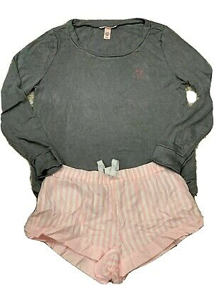 Victoria's Secret Iconic Pink Flannel Striped Shorts Gray Lounge Top Size M