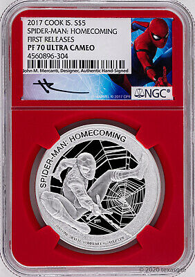2017 Cook Islands $5 Spider-Man 1oz Silver Proof Coin NGC PF70 - Mercanti Signed