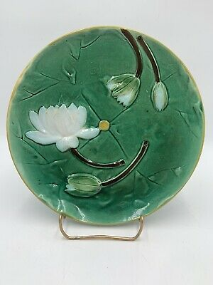 Joseph Holdcroft WATER LILY Majolica Plate England Antique c.1860-1890 #1