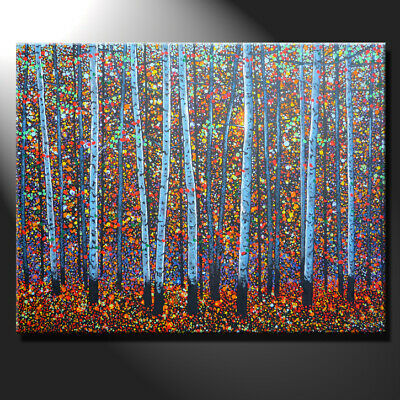 Original Large Oil Painting Canvas Sun Day Forest Tree Autumn Birches GeeBeeArt
