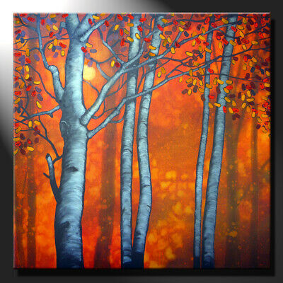 Original Painting Canvas Birches Sunset Trees Contemporary Square Sign GeeBeeArt