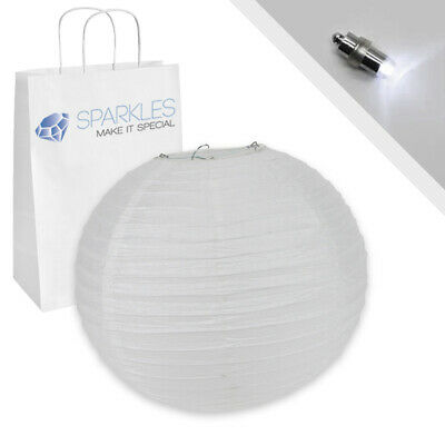 """10"""" inch Chinese Paper Lantern - White - w/ LED Lights - Wedding Party Event iw"""