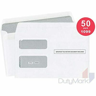 50 Tax Envelopes For 1099 Misc Income And 1099-R Double-Window Security Self Of