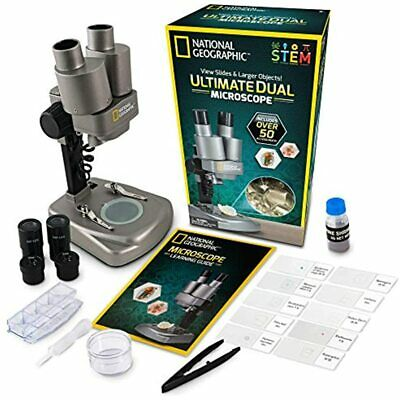 Dual LED Student Microscope &ndash 50+ Pc Science Kit Includes Set Of 10 &amp
